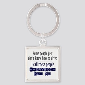 Bad Drivers (Blue) Square Keychain
