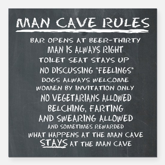 "Man Cave Rules Square Car Magnet 3"" x 3"""