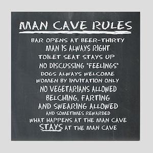 Man Cave Rules Tile Coaster
