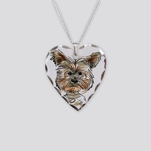 Yorkie Sketch Necklace Heart Charm