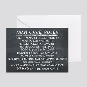 Man Cave Rules Greeting Cards