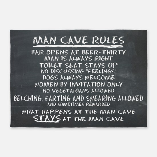 Man Cave Rules 5'x7'Area Rug