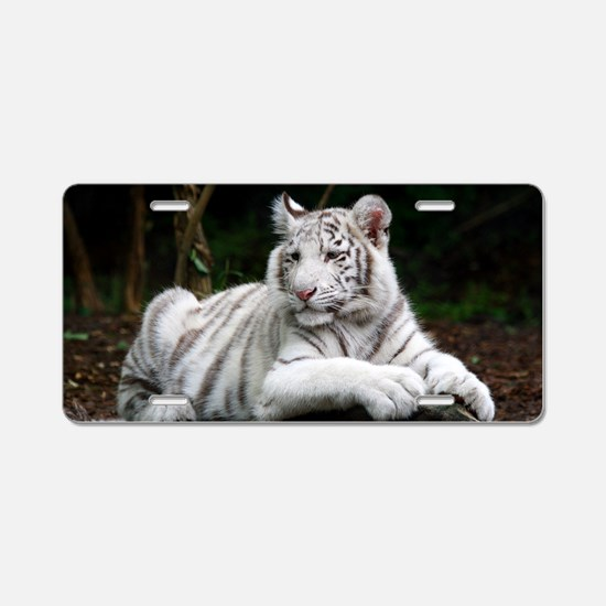 White Tiger Cub Aluminum License Plate