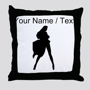 Custom Woman In Cape Silhouette Throw Pillow