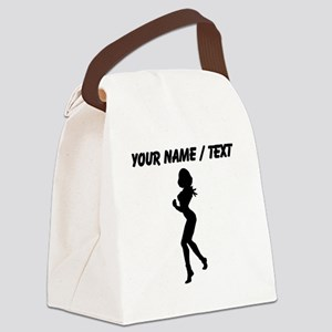 Custom Woman Boxer Silhouette Canvas Lunch Bag