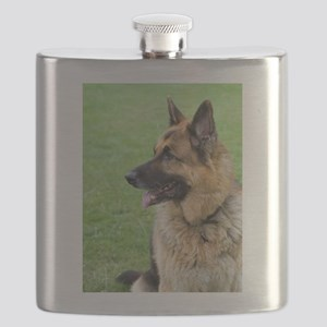 German Shepherd Profile Flask