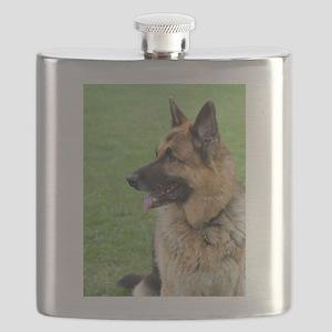 German Shepherd Profile Flask
