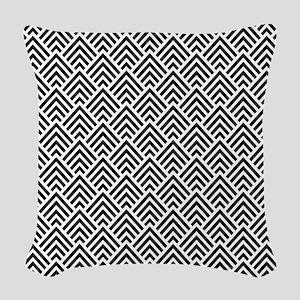 Elegant Black and White Chevron Geometric Woven Th