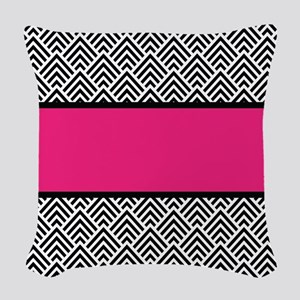 Chevron Chic Hot Pink and Black Woven Throw Pillow