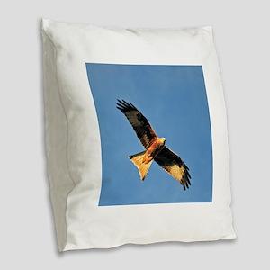 Flying Red Kite Burlap Throw Pillow