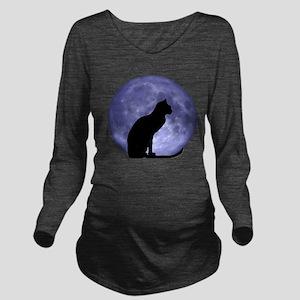 Black Cat, Blue Moon Long Sleeve Maternity T-Shirt