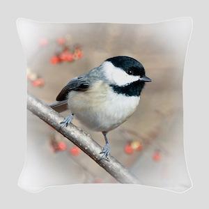 Carolina Chickadee Woven Throw Pillow