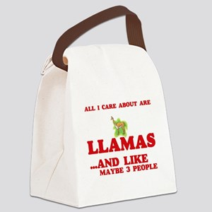 All I care about are Llamas Canvas Lunch Bag