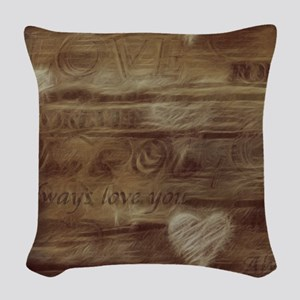 Brown Love Letter Woven Throw Pillow