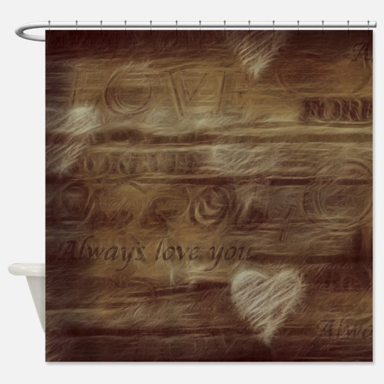 Brown Love Letter Shower Curtain