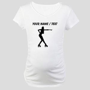 Custom Roller Derby Silhouette Maternity T-Shirt