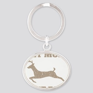 Eat More Fast Food Hunting Humor Oval Keychain