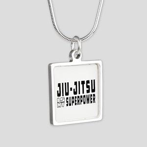 jiu Jitsu Is My Superpower Silver Square Necklace