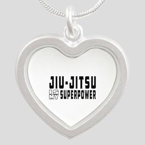 jiu Jitsu Is My Superpower Silver Heart Necklace