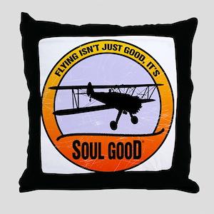 Stearman Biplane Aviation - Soul Good Throw Pillow