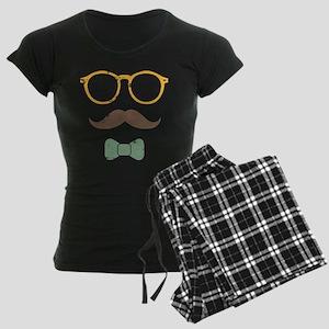 Mustache Face w/ Bowtie Women's Dark Pajamas