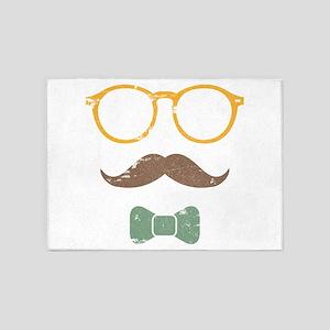 Mustache Face w/ Bowtie 5'x7'Area Rug