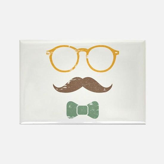 Mustache Face w/ Bowtie Rectangle Magnet (10 pack)