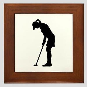Golf woman girl Framed Tile