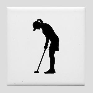 Golf woman girl Tile Coaster