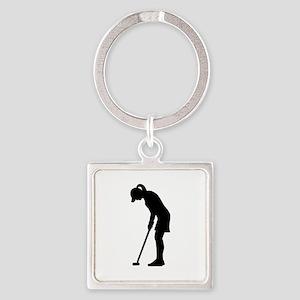 Golf woman girl Square Keychain