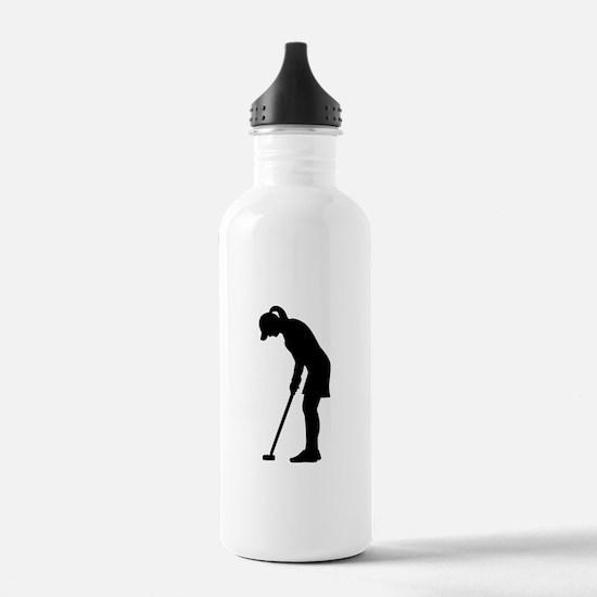 Golf woman girl Water Bottle
