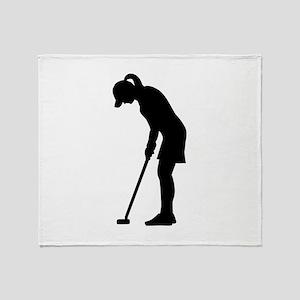 Golf woman girl Throw Blanket