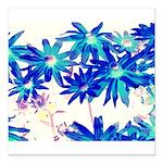 Blue flowers Square Car Magnet 3