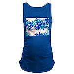 Blue flowers Maternity Tank Top