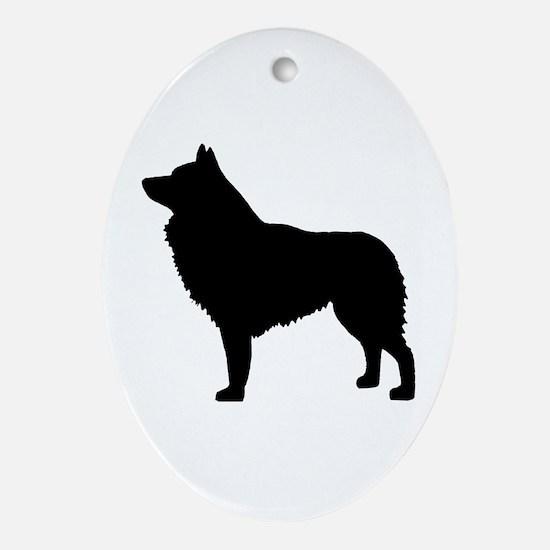 schipperke dog Oval Ornament