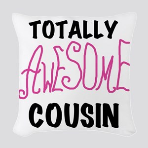 Pink Awesome Cousin Woven Throw Pillow