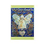 Blue & Gold Cancer Angel Rectangle Magnet