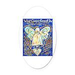 Blue & Gold Cancer Angel Oval Car Magnet