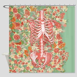 Skeleton Floral Shower Curtain