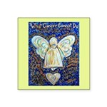 Blue & Gold Cancer Angel Square Sticker 3
