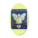 Blue & Gold Cancer Angel 20x12 Oval Wall Decal