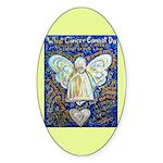 Blue & Gold Cancer Angel Sticker (Oval 10 pk)