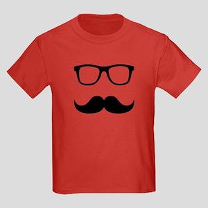 Mustache Glasses Kids Dark T-Shirt