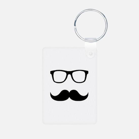 Mustache Glasses Aluminum Photo Keychain