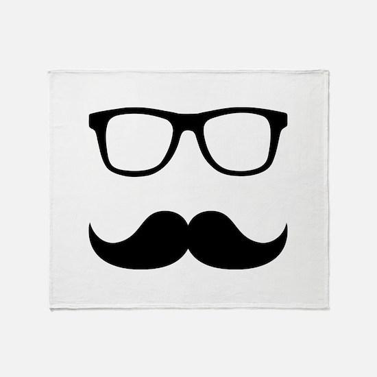 Mustache Glasses Throw Blanket