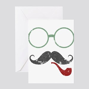 Mustache Face w/ Pipe Greeting Card