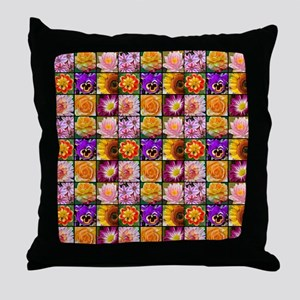 Colorful flower collage Throw Pillow