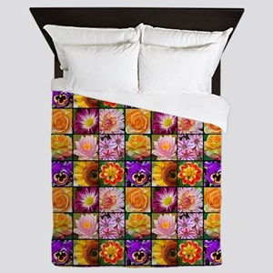 Colorful flower collage Queen Duvet