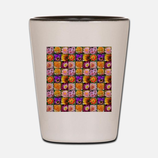 Colorful flower collage Shot Glass