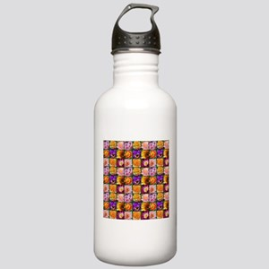 Colorful flower collage Water Bottle